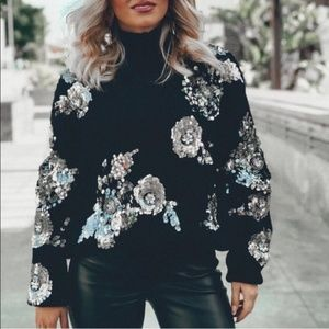 Zara Floral Sequin Sweater